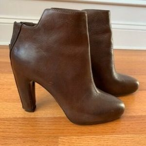 Vince Brown Leather Bootie Ankle Heel Boots, 8
